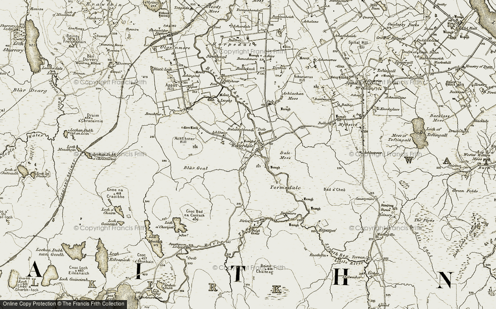 Old Map of Historic Map covering Achlibster Hill in 1911-1912