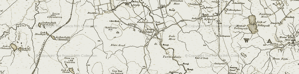 Old map of Achlibster Hill in 1911-1912