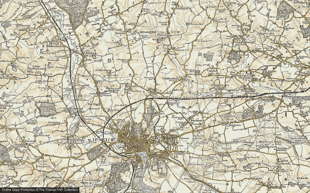 Old Map of Westerfield, 1898-1901 in 1898-1901