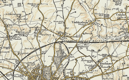 Old map of Westerfield in 1898-1901