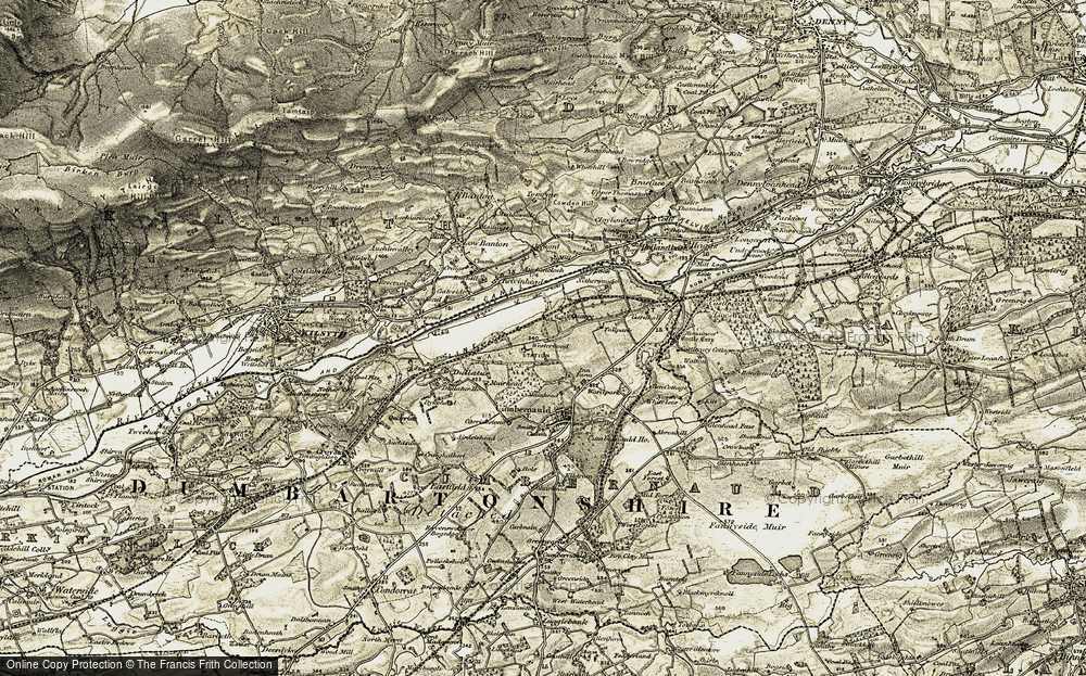 Old Map of Historic Map covering Auchincloch in 1904-1907