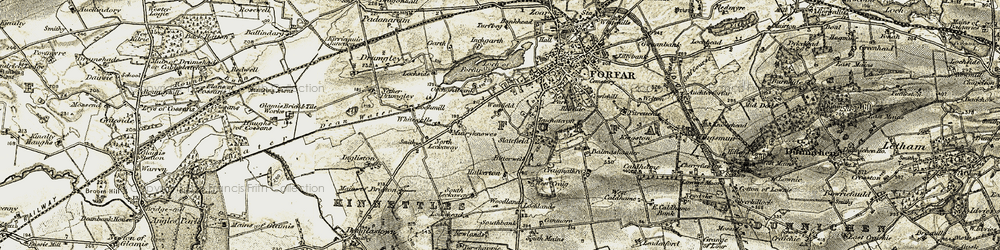 Old map of Whitewell in 1907-1908