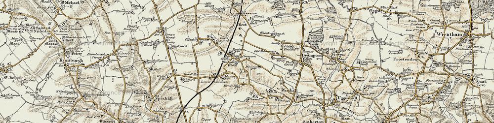 Old map of Westhall in 1901-1902