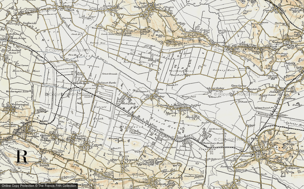 Old Map of Historic Map covering Westhay Heath in 1898-1900