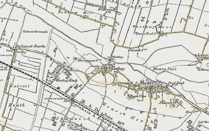 Old map of Westhay Level in 1898-1900
