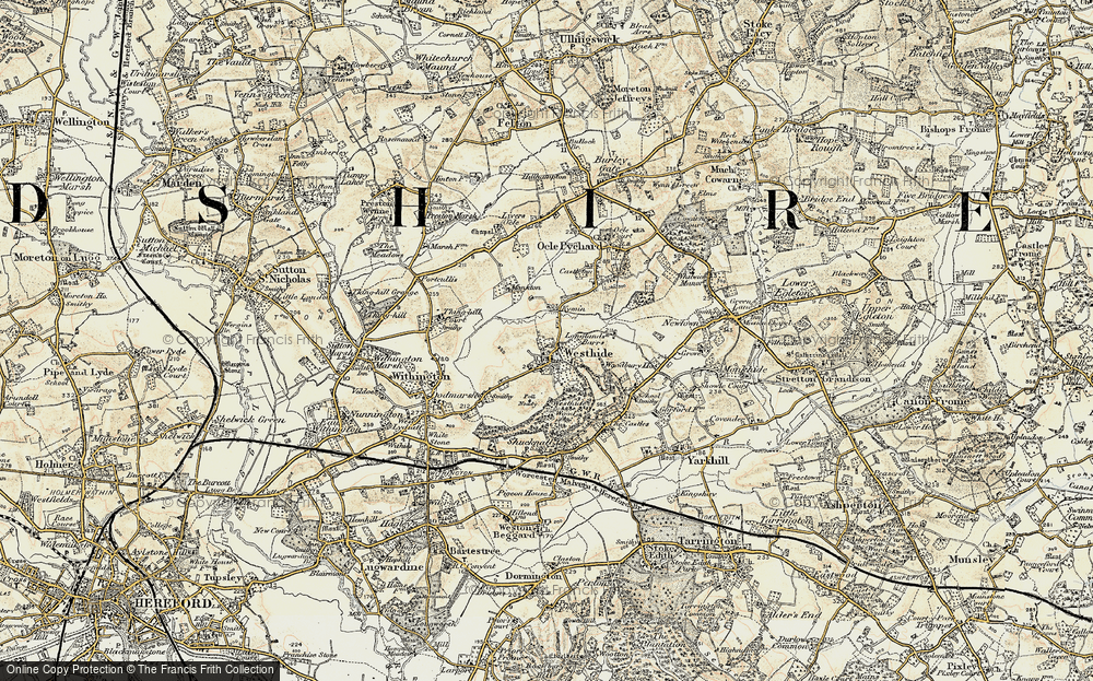 Old Map of Westhide, 1899-1901 in 1899-1901