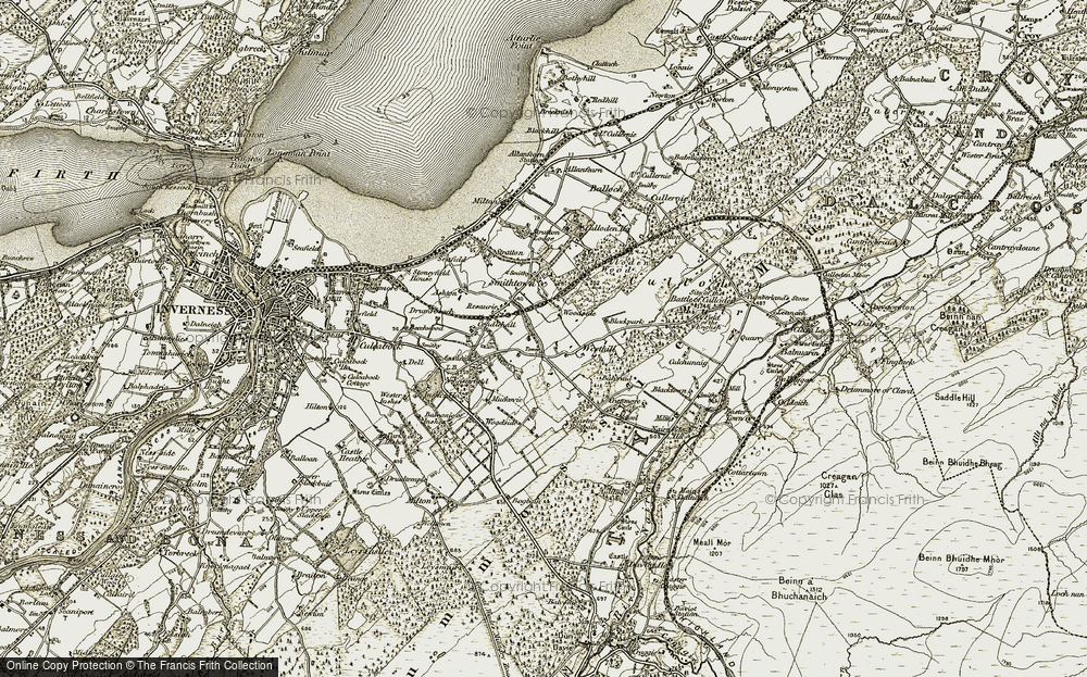 Old Map of Historic Map covering Balvraid in 1908-1912