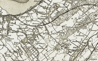 Old map of Westhill in 1908-1912
