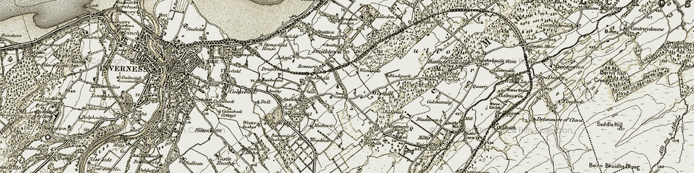 Old map of Woodside in 1908-1912