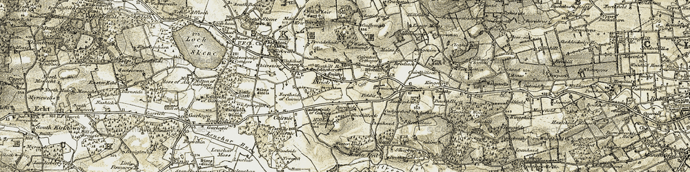 Old map of Westhill in 1909
