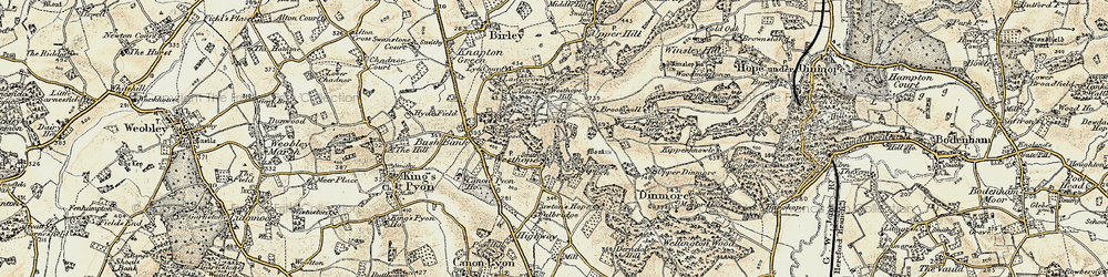Old map of Westhope Hill in 1900-1901