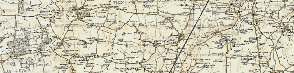 Old map of Westhorpe in 1901