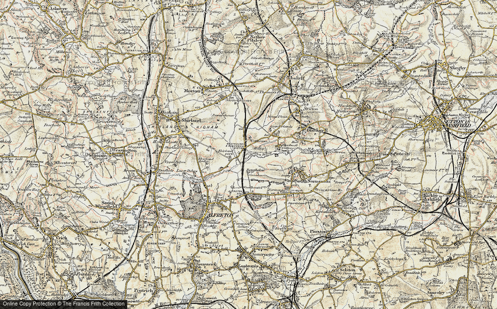 Old Map of Historic Map covering Alfreton & Mansfield Parkway Station in 1902-1903