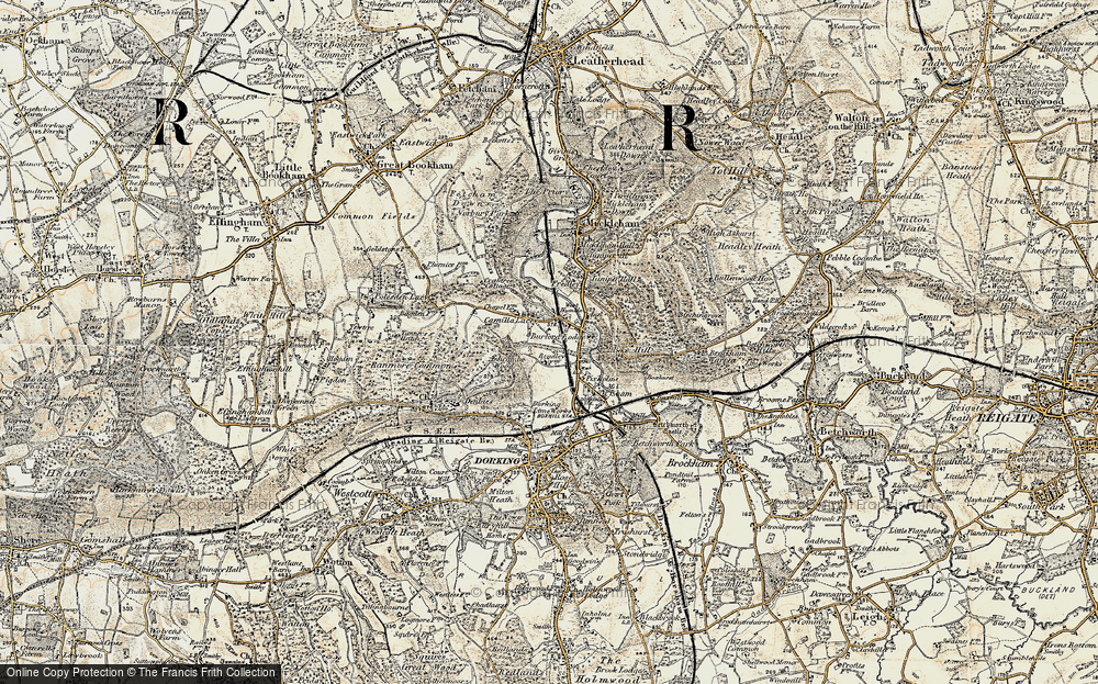 Old Map of Historic Map covering Ashcombe Wood in 1898-1909