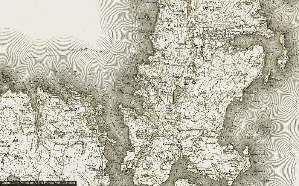 Old Map of Historic Map covering Lang Holm in 1912