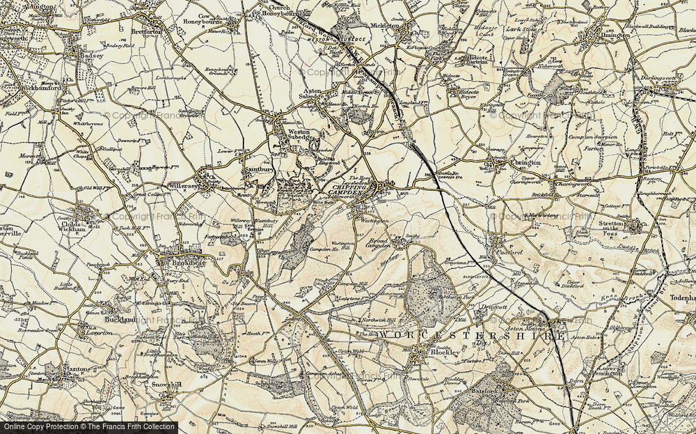 Old Map of Historic Map covering Tilbury Hollow in 1899-1901