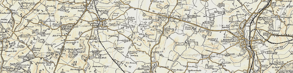 Old map of Westland Green in 1898-1899