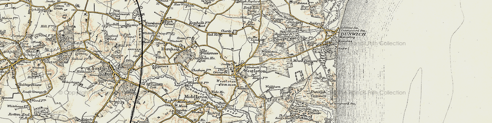 Old map of Westleton in 1901