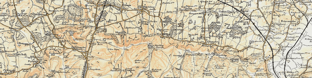 Old map of Westmeston in 1898