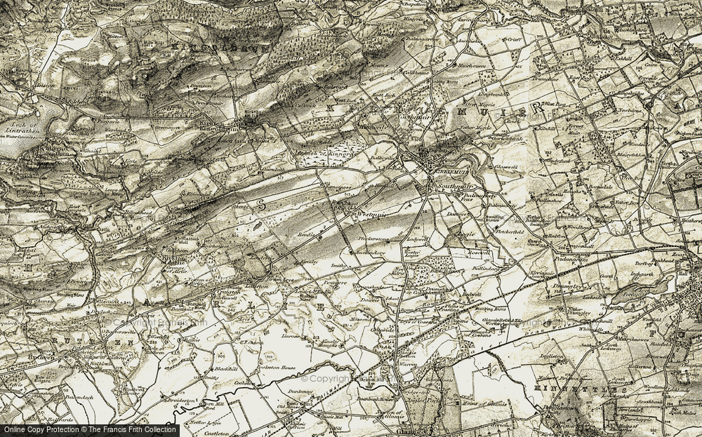 Old Map of Historic Map covering Auchindorie in 1907-1908