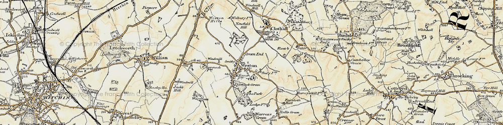 Old map of Weston in 1898-1899