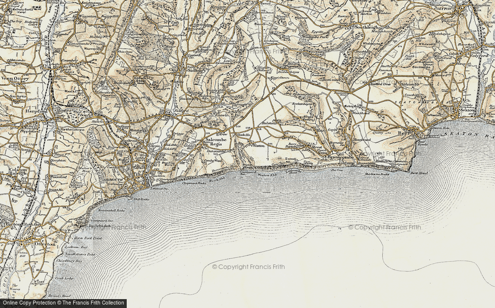 Old Map of Historic Map covering Weston Mouth in 1899