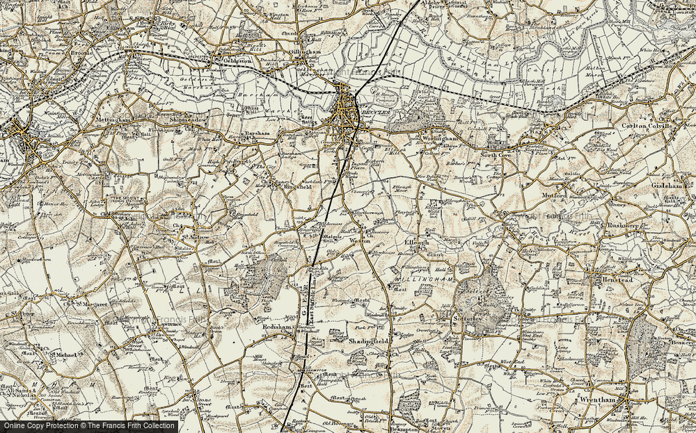 Old Map of Weston, 1901-1902 in 1901-1902