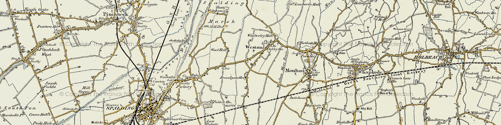 Old map of Weston in 1901-1903
