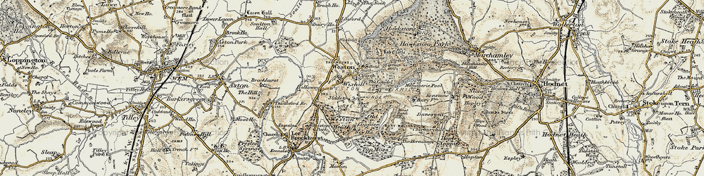 Old map of Weston Heath in 1902