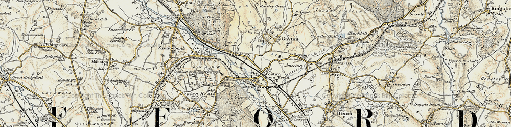 Old map of Weston in 1902