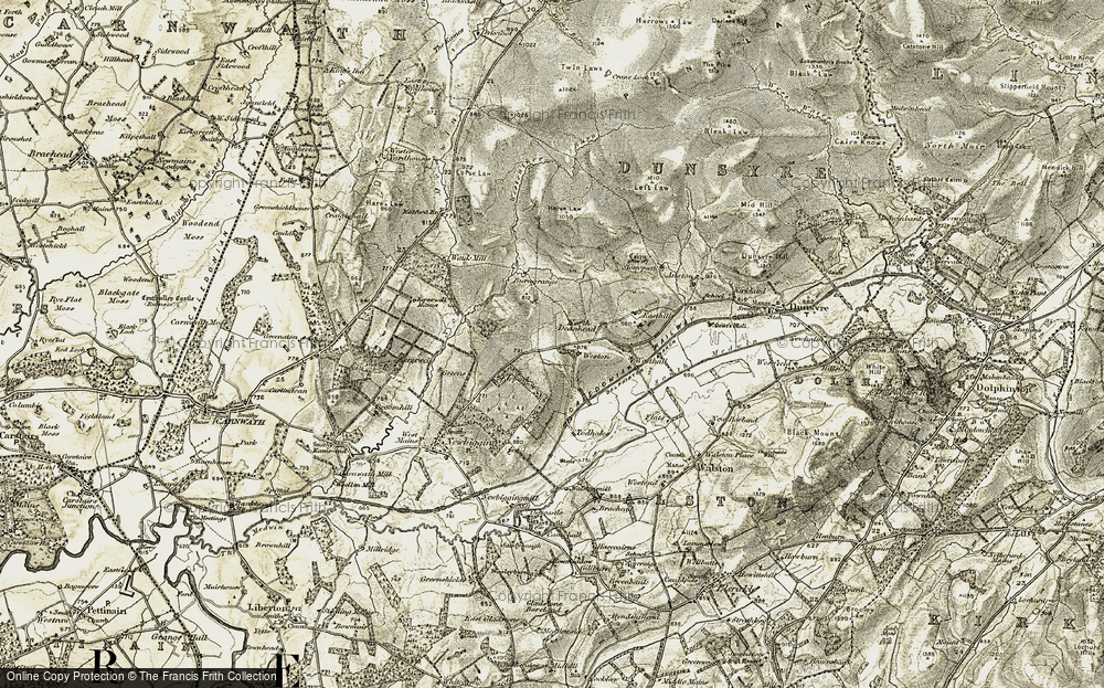 Old Map of Historic Map covering Westruther Burn in 1904-1905