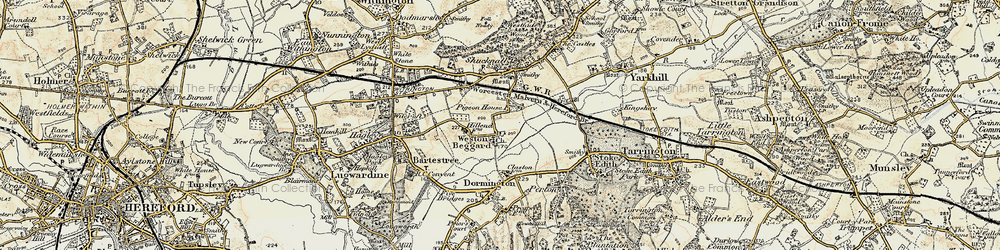 Old map of Weston Beggard in 1899-1901
