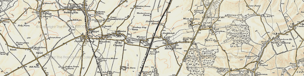 Old map of Weston Colley in 1897-1900