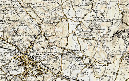 Old map of Weston Coyney in 1902