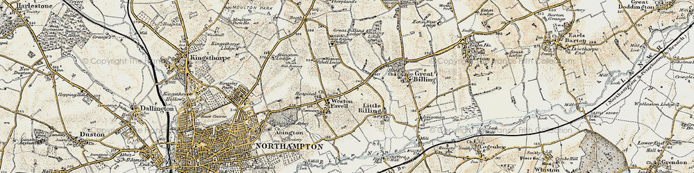 Old map of Weston Favell in 1898-1901