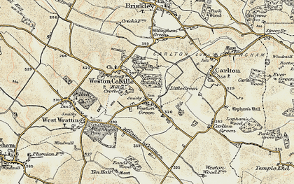Old map of Weston Green in 1899-1901