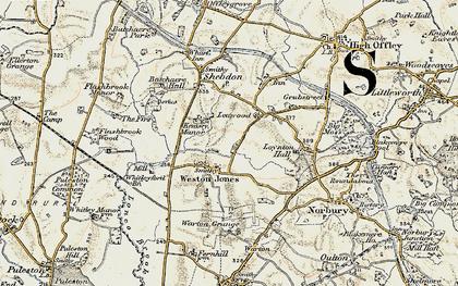 Old map of Weston Jones in 1902