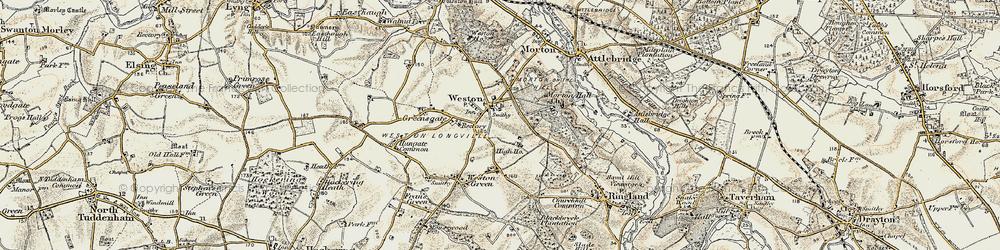 Old map of Weston Longville in 1901-1902