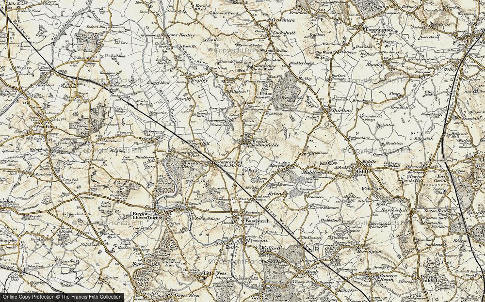Old Map of Weston Lullingfields, 1902 in 1902