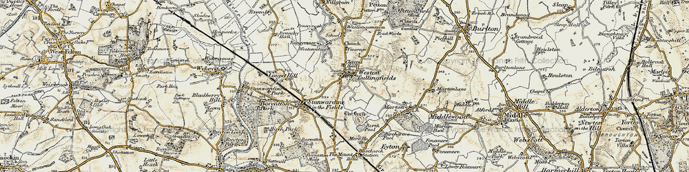 Old map of Weston Lullingfields in 1902