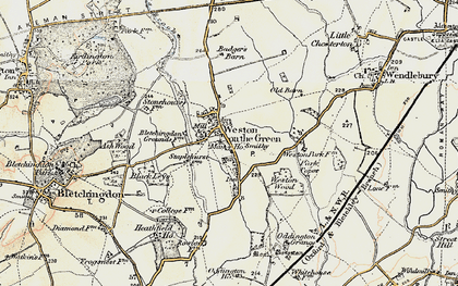 Old map of Weston Wood in 1898-1899