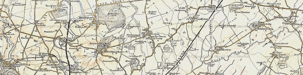 Old map of Weston-on-the-Green in 1898-1899