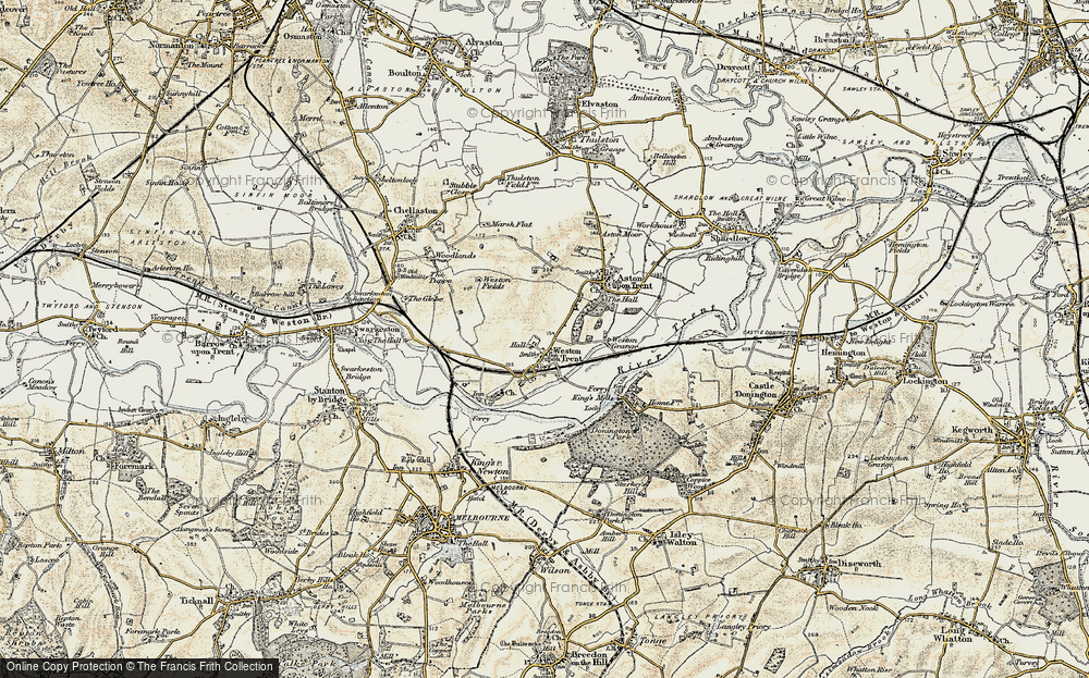 Old Map of Weston-on-Trent, 1902-1903 in 1902-1903