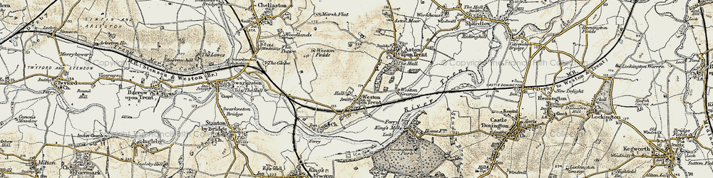 Old map of Weston-on-Trent in 1902-1903