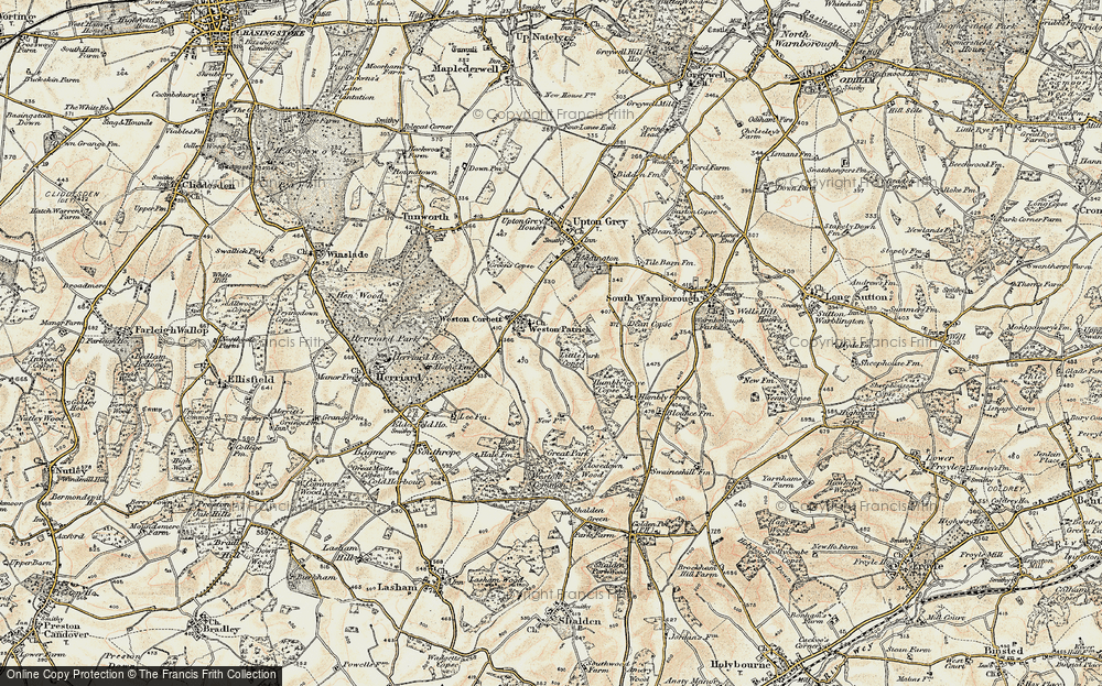 Old Map of Weston Patrick, 1900 in 1900