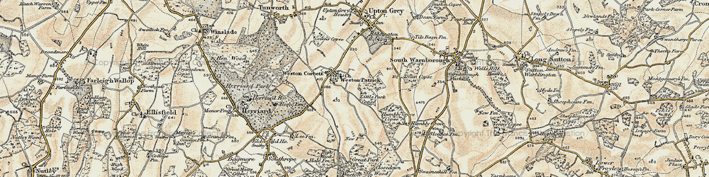 Old map of Weston Patrick in 1900
