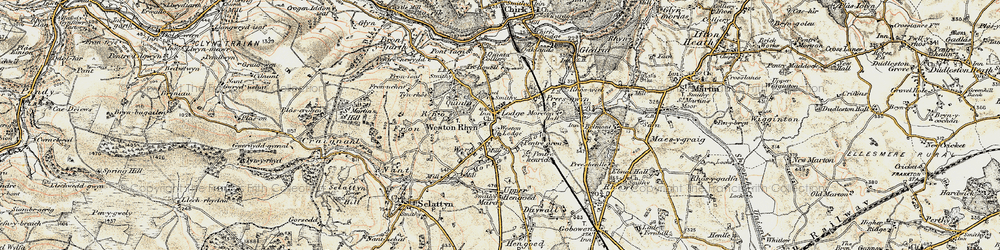 Old map of Weston Lodge in 1902-1903