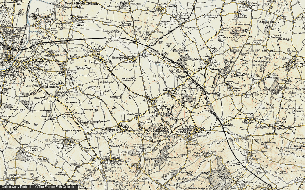 Old Map of Weston-sub-Edge, 1899-1901 in 1899-1901