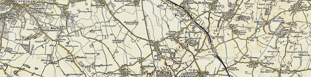 Old map of Weston-sub-Edge in 1899-1901