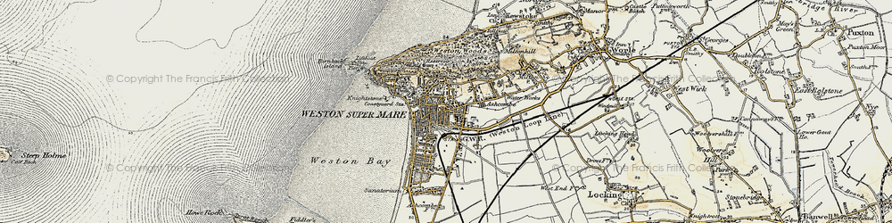 Old map of Weston-super-Mare in 1899-1900